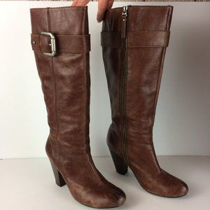 Fossil Brown Leather Zip Knee High Heeled Boots 10